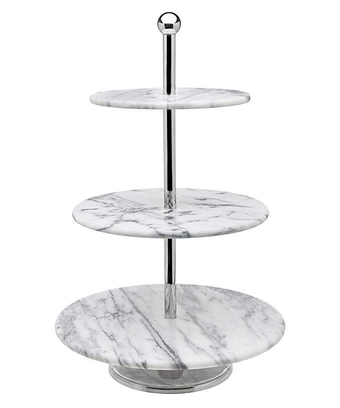 Godinger La Cucina 3 Tier Marble Server Cake Stand 12 00l X 12 00w X 19 10h Off White Review Tiered Server 3 Tier Server Tiered