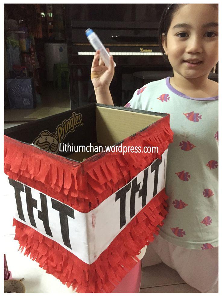 MINECRAFT piñata :)  https://lithiumchan.wordpress.com/2015/10/31/how-to-do-a-very-easy-minecraft-pinata-tnt/