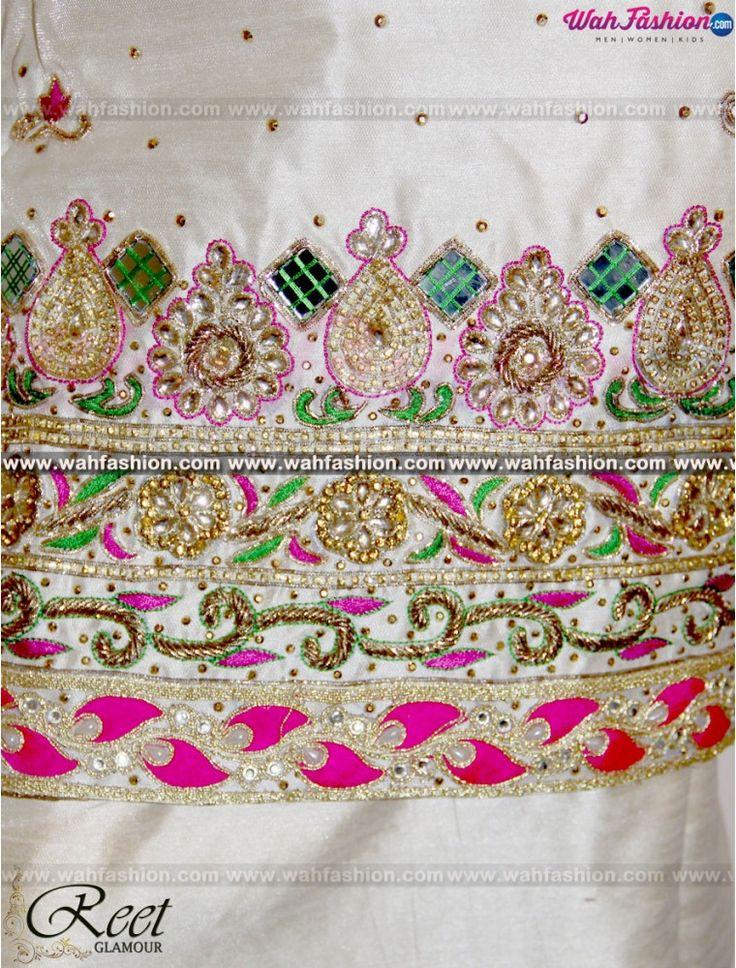 Elegant Cream Embroidered Punjabi Suit