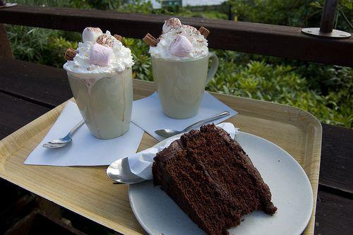 chocolate cake & hot chocolate
