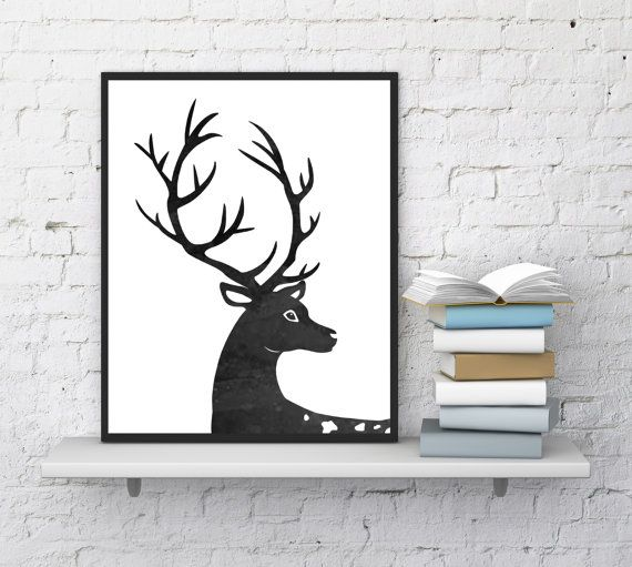 Deer wall art, Deer print, Deer home decor, Deer printable , Fine art, Animals print, Deer watercolor, Modern wall art, InstantDownloadArt1