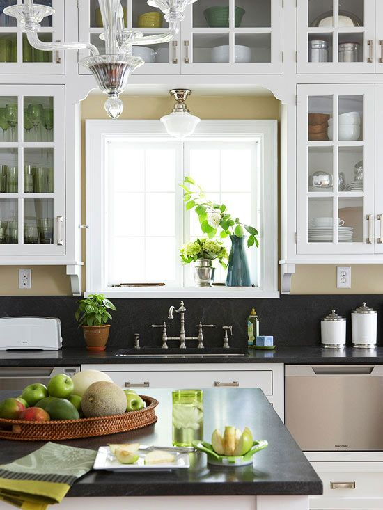 Love the light fixture over the sink: Kitchens, White Kitchen, Glass Front Cabinets, Kitchen Design, Kitchen Ideas, Kitchen Remodeling