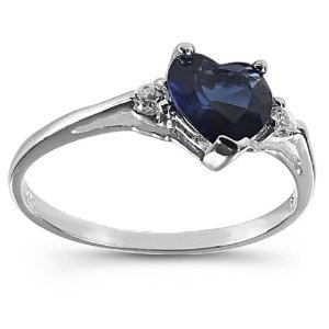 925 Sterling Silver Ring Blue Sapphire CZ-Heart Shape-Band Width:2mm (Jewelry) http://documentaries.me.... B007TBIE10