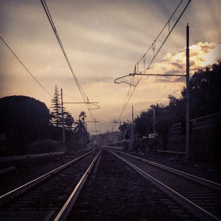 #railroads #liguria #ceriale #savona #riviera #railcrossing #sunset #sky #light