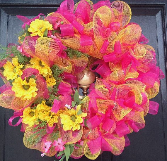 Here Comes Spring Deco Mesh Wreath, Hot Pink and Yellow Deco Mesh Wreath, Easter Wreath, Spring Wreath, Summer Wreath on Etsy, $52.99
