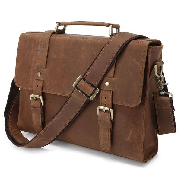 Brown Leather Messenger Bag - Slim Vintage Notebook