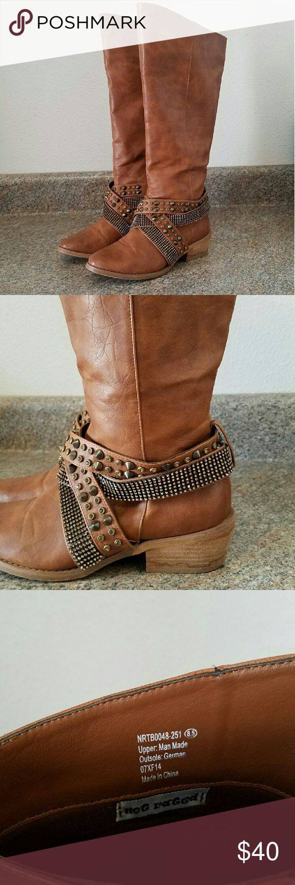 Studded wide calf Boots | Not Rated | 8.5 Not Rated cognac wide calf studded boots.  EUC.  Fits like an 8. Not Rated Shoes