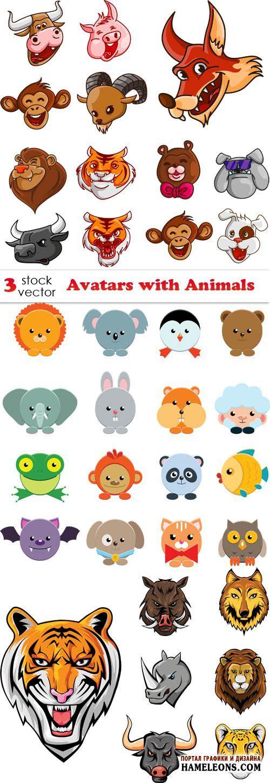 Животные - аватарки в векторе   Avatars Animals vector