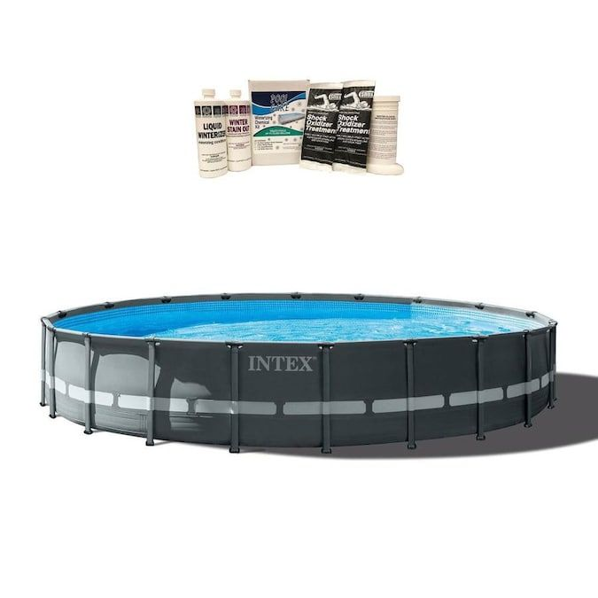Intex 24 Ft X 24 Ft X 52 In Round Above Ground Pool In The Above Ground Pools Department At Lowes Com In 2020 In Ground Pools Above Ground Pool Intex