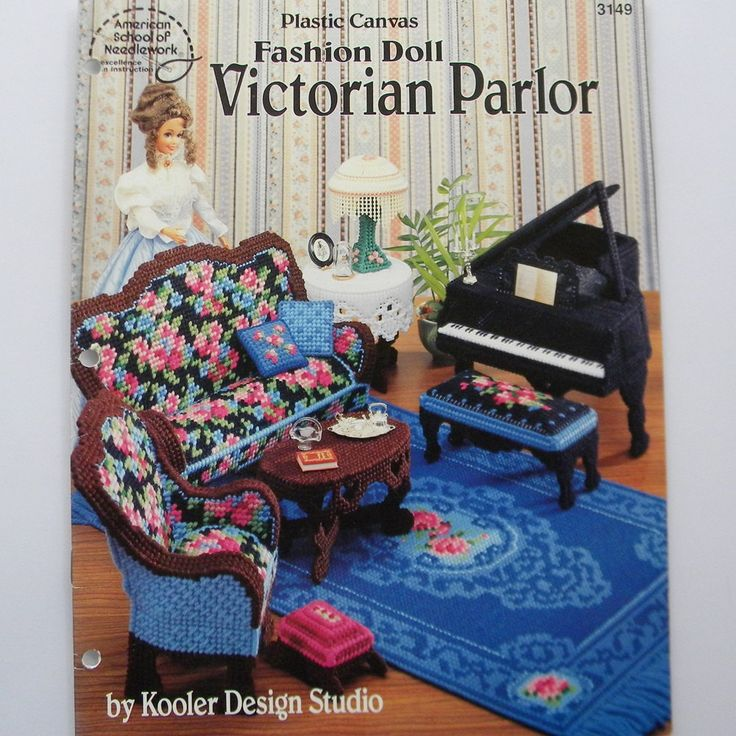 Fashion Doll Victorian Parlor Plastic Canvas Pattern Barbie Living Room Furniture Asn Leaflet