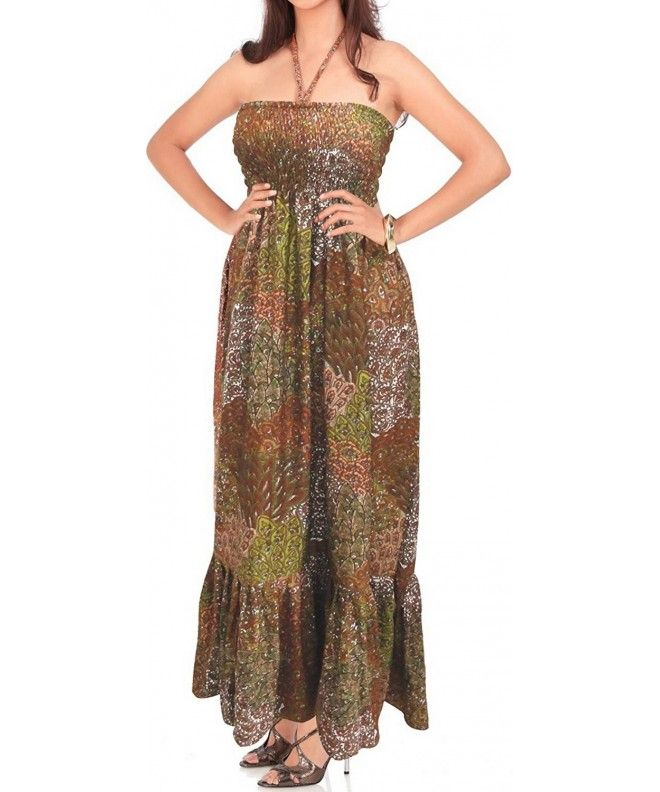 fde0a098daf Beach Halter Tube Maxi Cover Up Swimsuit Swimwear Dress Skirt Boho Casual  LARGE- Brown- One Size - C211DWUMOVZ
