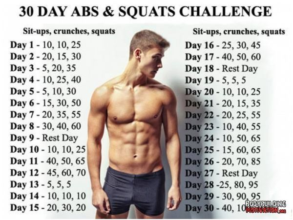 30 day abs and squats challenge - healthy fitness body sixpack leg