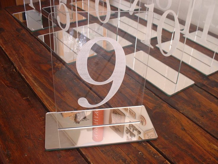 Clear Perspex and Mirror Acrylic table numbers