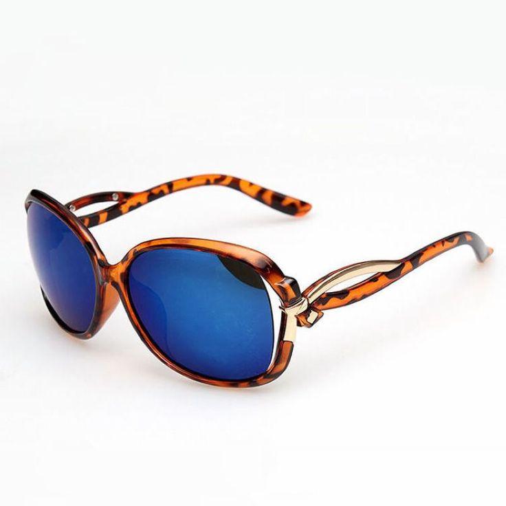 Womens Butterfly Sunglasses Tortoise Brown Frame Mirror Blue Lens