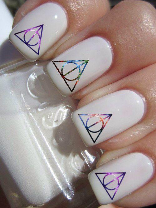 Galaxy Deathly Hallows Harry Potter nail decals tattoos nail art by CrazyFunNailArt on Etsy https://www.etsy.com/listing/201161958/galaxy-deathly-hallows-harry-potter-nail