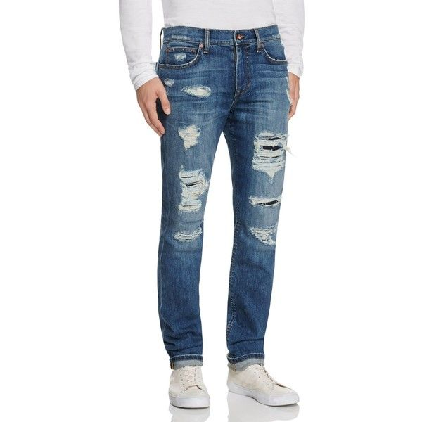 Joe's Jeans Distressed Slim Fit Jeans in Alton ($258) ❤ liked on Polyvore featuring men's fashion, men's clothing, men's jeans, alton, mens slim fit jeans, mens torn jeans, mens destroyed jeans, mens slim jeans and mens ripped jeans