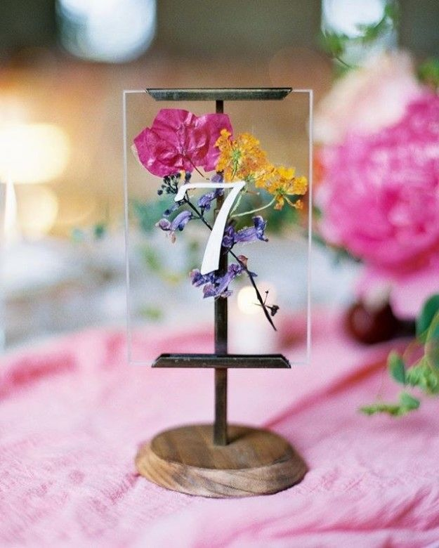 Press recent lavender in between glass plates for a gorgeous desk marker.