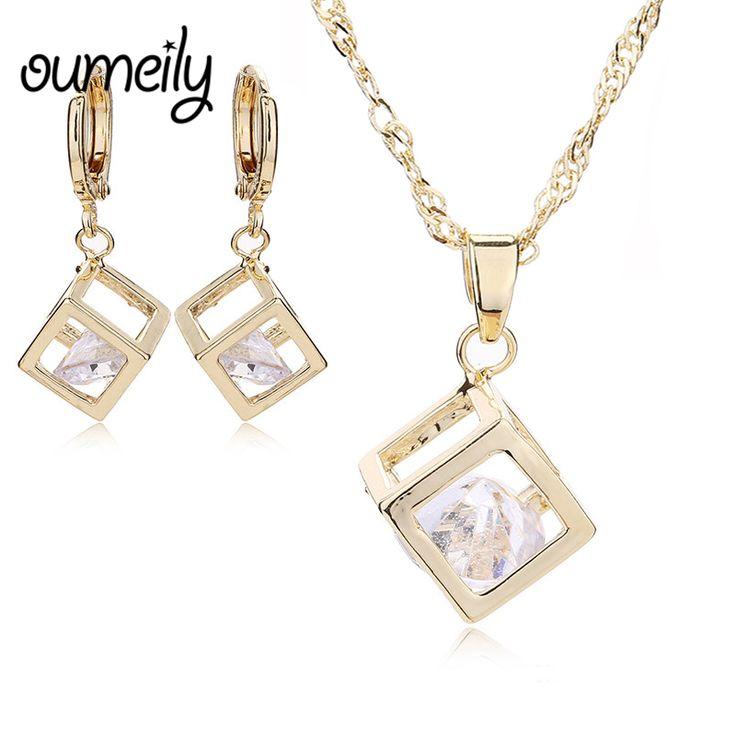 OUMEILY Koper Ketting Oorbellen Voor Vrouwen Imitatie Crystal Hanger Sieraden Sets Bruids Trouwjurk Accessoires