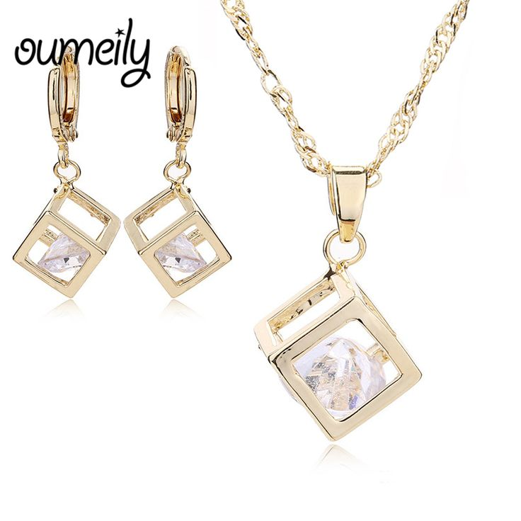 OUMEILY Copper Necklace Drop Earrings For Women Imitation Crystal Pendant Jewelry Sets Bridal Wedding Dress Accessories