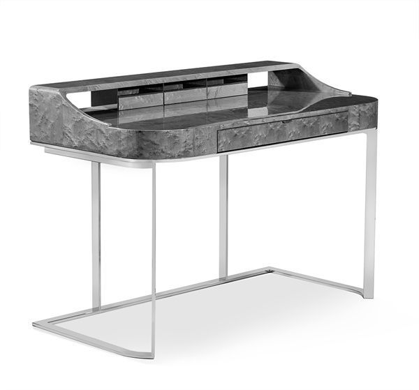 interlude home s lyra desk in maple draws attention with its rich rh pinterest com