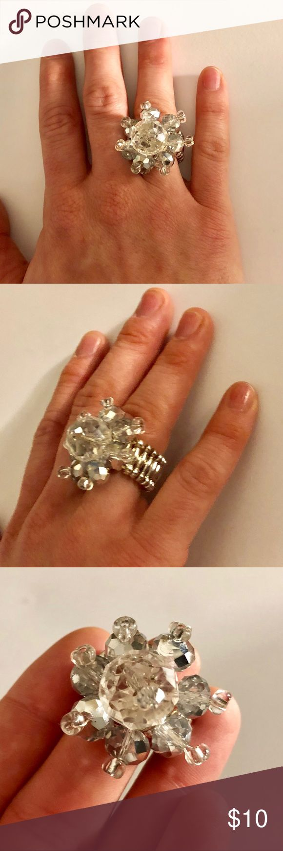 LAST CHANCE SALE Gabrielle Ring *final price* This ring is one size fits all with its elastic band.   -iridescent silver crystal beads -aurora borealis clear crystal beads -comfortable elastic band FlashBauble Jewelry Rings