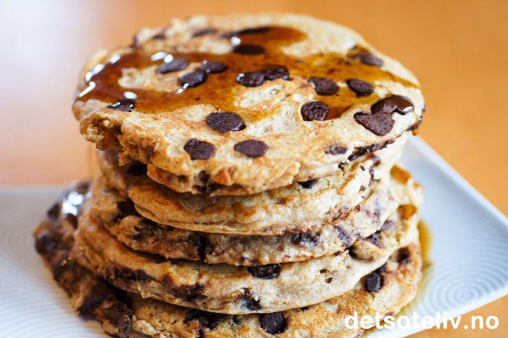 Grove Chocolate Chip Pancakes   Det søte liv