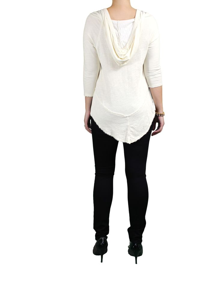 """We love this rustic white hoodie-top. This flattering sweater defines """"comfy-chic"""". Shop this ethical fashion staple in our online boutique. Made in the USA."""