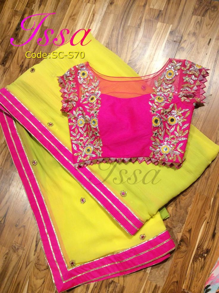 SC-S70: Yellow-green shaded chiffon saree with hot pink hand embroidered blouse.We can customize the colour   size as per your requirement.To order please call/ WhatsApp on 9949944178 or mail us @issadesignerstudio@gmail.com  04 October 2016