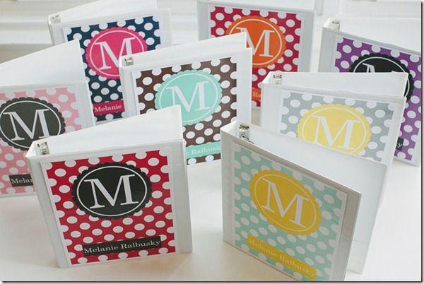 Monogram binder covers by schoolgirlstyle