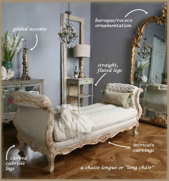 White tufted chaise lounge chair. baroque and rococo mirror french