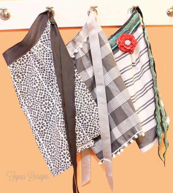 10 minute dish towel aprons, crafts, Sweet half body aprons Add a wide ribbon for a waistband