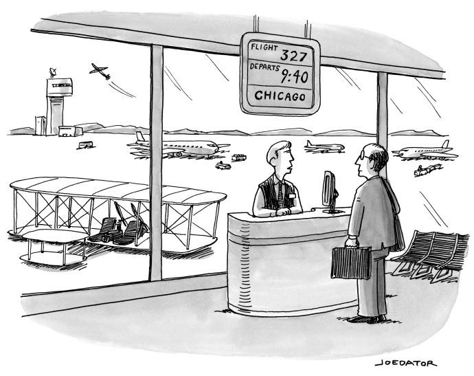 """My entry in The New Yorker cartoon caption contest #461, February 2, 2015 - MY CAPTION """"Do you have SPF 200 in a 3 oz or less container in your carry-on?"""""""