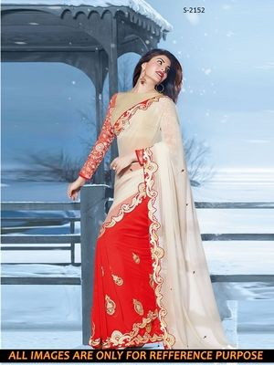 white red ambroidery georgette  party wear saree with blouse Sarees on Shimply.com
