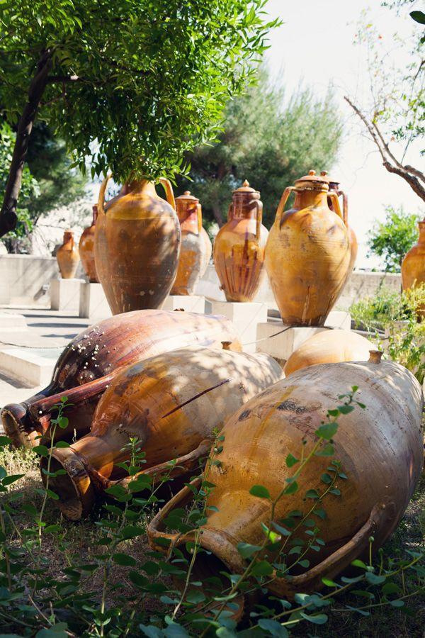 Ancient wine pots in the Mediterranean garden of Casa Vestita - Copyright Carla Coulson