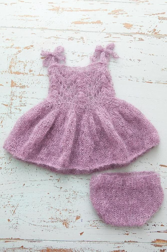 Description: This is a PDF knitting PATTERN for a stunning newborn mohair fairy/party dress with matching bloomers. This will look gorgeous in newborn sessions. Suitable for advanced knitters only.It is written in standard american (and English UK) terms with lots of photos to help with the pattern and sizing. This pattern is knitted on 2 straight needles so no complicated knitting in the round!Sizing: The pattern is for NEWBORN size onlyDifficulty: ADVANCED! Some very complicated knitti...