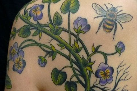 Bee and  Flower Tattoos