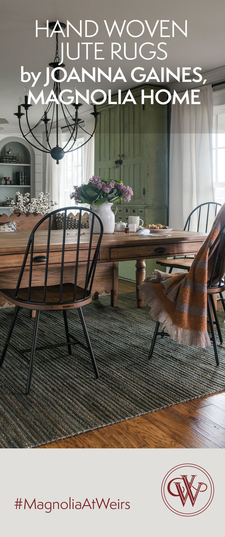 A real feet pleaser. A refined but casual rug designed by Joanna Gaines of Magnolia Home and Dallas-based Loloi Rugs. The Drake Storm rug is hand woven in India and made with 100% jute and rich dyes. Now available at all Weir's Furniture locations. #MagnoliaAtWeirs