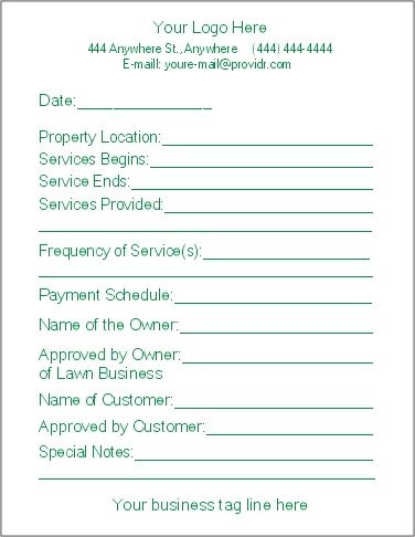 Free Lawn Care Contract Forms - contract forms