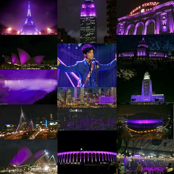 "The Purple Reign of ""Purple Rain"" - a collage of tributes around the world as a memorial to Prince."