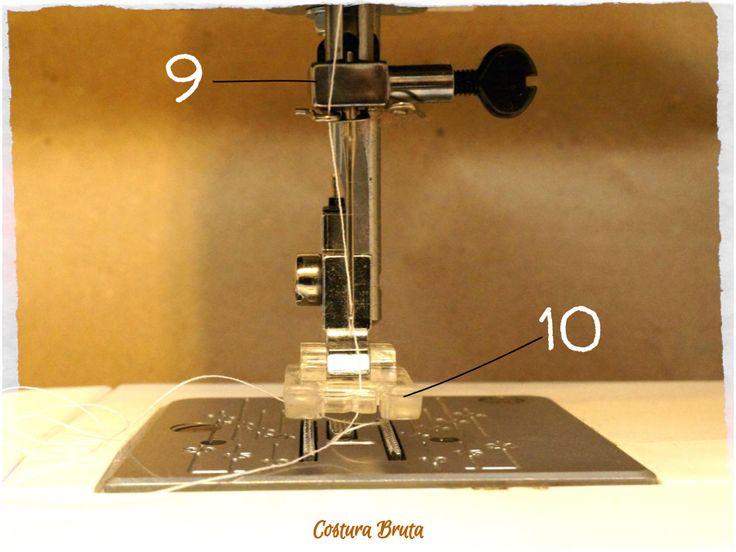 Detalhe do mecanismo da agulha e pé-calcador de uma máquina de costura doméstica comum (vista frontal)