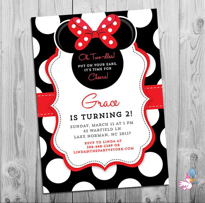 Minnie Mouse Birthday Invitations | Printable Girls Party Invitation | Black White Polka Dots and Red | 2nd Birthday Twodles | Oh Two-dles by thepartystork on Etsy https://www.etsy.com/listing/249234177/minnie-mouse-birthday-invitations