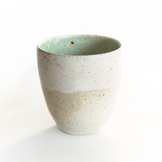 Beige and Blue Mug Handmade ceramics by RzucidloCeramics on Etsy