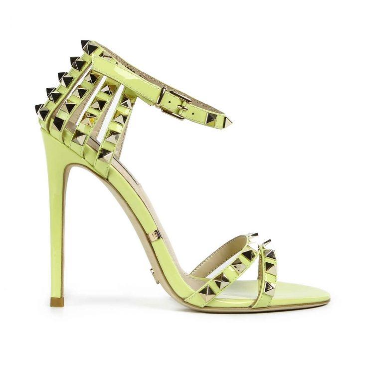 Ananas patent spiky sandal by Gianni Renzi Couture golden spiky studs Gianni Renzi Couture