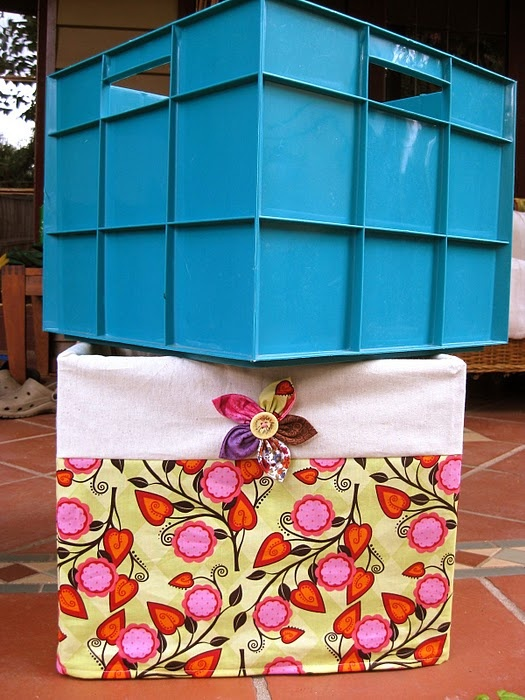 Crate slipcover with fabricflower--I have half a dozen of these ugly crates! Saved!: Sewing Room, Crate Slipcover, Idea, Craft, Sewing Projects, Fabric Flowers, Slipcovers, Fabrics, Crates