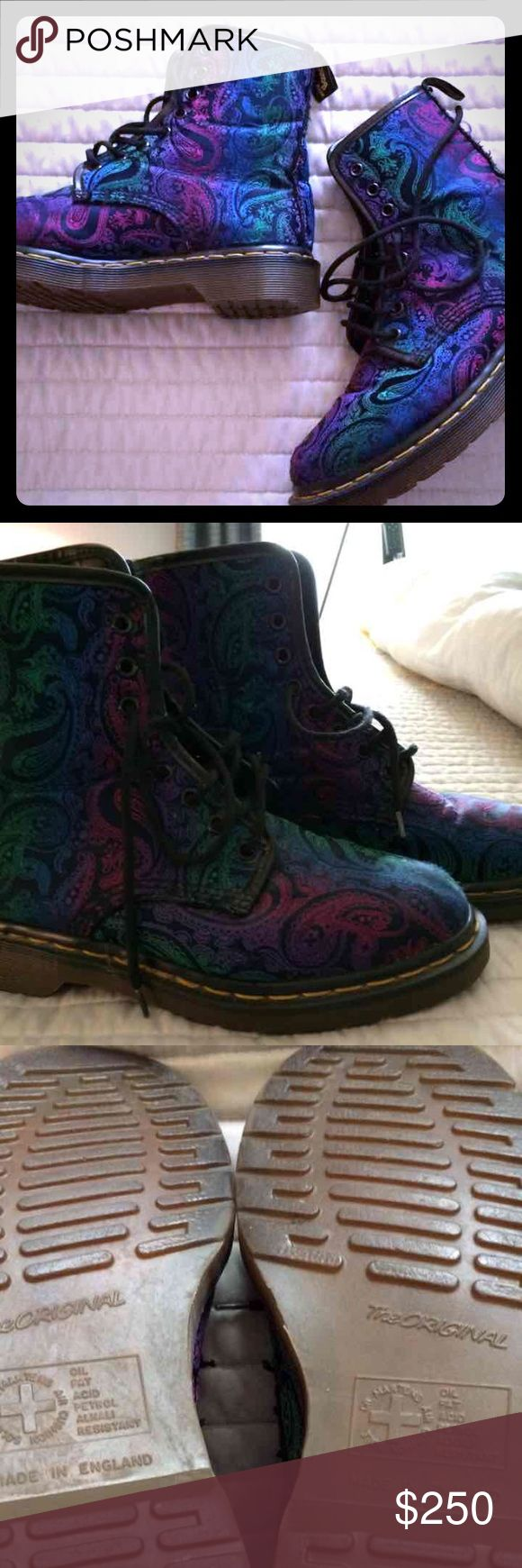 RARE VINTAGE RAINBOW PAISLEY DR.MARTENS One of my favorite pairs of boots, still not for sure I want to sell. I bought them brand new in the 90's they are true vintage! My daughter says let them go! No flaws! You won't find another pair like these!! They are blue, green, purple, pink, & black. Dr. Martens Shoes