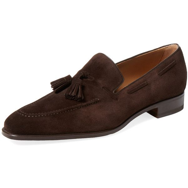 Romano Martegani Men's Classic Tassel Loafer - Cream/Tan - Size 10 ($349) ❤ liked on Polyvore featuring men's fashion, men's shoes, men's loafers, mens tan shoes, mens tassle loafers, mens loafers, mens tan loafers and mens tassel loafer shoes