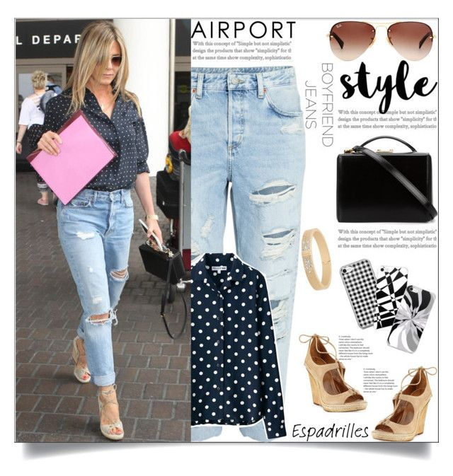 """Jennifer Aniston: Boyfriend Jeans"" by atelier-briella ❤ liked on Polyvore featuring H&M, Uniqlo, Mark Cross, Aquazzura, Ray-Ban, Michael Kors, cute, chic, Elegant and boyfriendjeans"