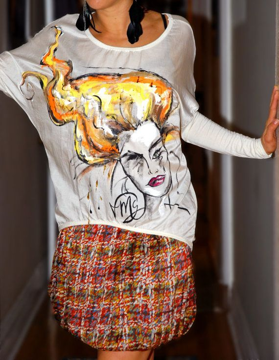 Girl on Fire silky white top