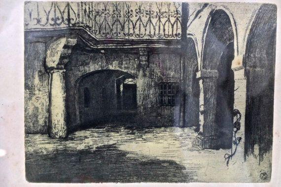 Vintage framed print / pencil drawing / cloister / by 1001Artforms
