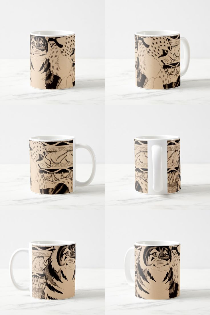 """Royals"" Black and White Feline Coffee Mug  #tiger #cheetah #animals #art #illustration #products #gifts #sepia"